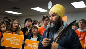 NDP leader Jagmeet Singh speaks during a campaign stop in Port Alberni, B.C., on Friday, October 18, 2019. THE CANADIAN PRESS/Nathan Denette