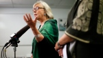 Green Party Leader Elizabeth May speaks during a press conference at the campaign office of candidate Racelle Kooy while in Victoria, Wednesday, Oct. 16, 2019. THE CANADIAN PRESS/Chad Hipolito