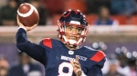 Montreal Alouettes quarterback Vernon Adams Jr., throws a pass during first half CFL football action against the Toronto Argonauts in Montreal, Friday, October 18, 2019. THE CANADIAN PRESS/Graham Hughes