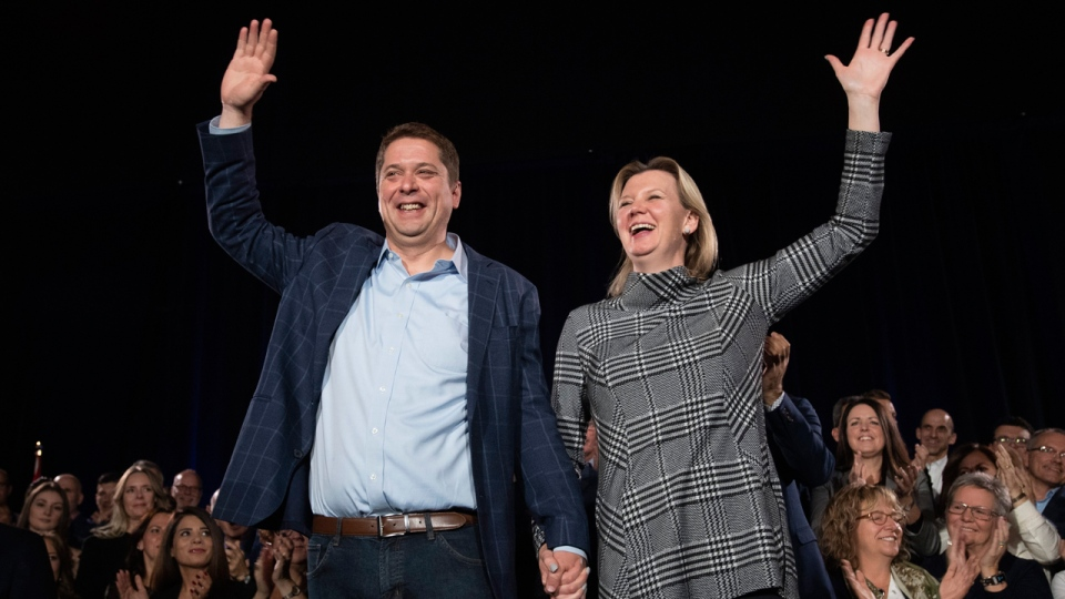 Andrew Scheer and his wife Jill are seen on Friday, Oct.18, 2019. THE CANADIAN PRESS/Nathan Denette