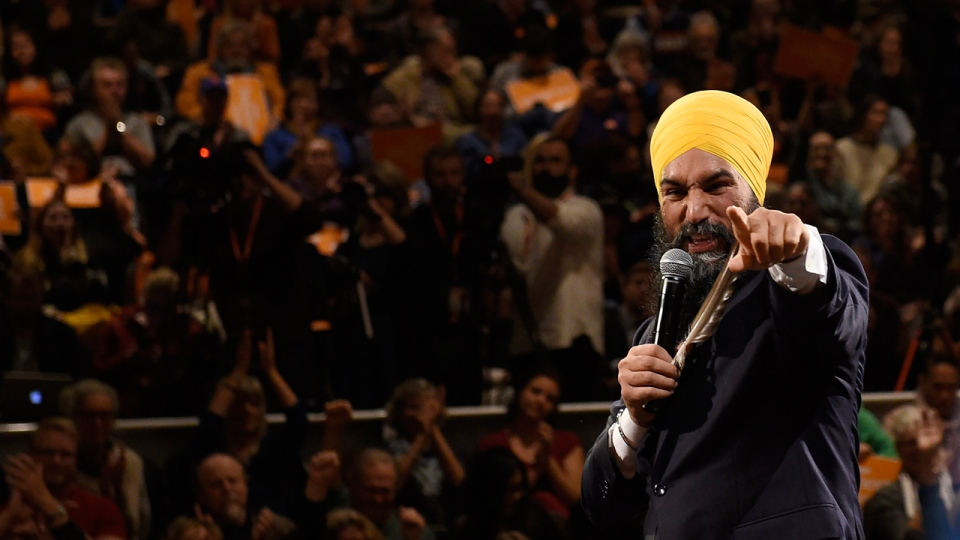 NDP leader Jagmeet Singh attends a rally with supporters in Victoria on Friday, Oct.18, 2019. THE CANADIAN PRESS/Nathan Denette