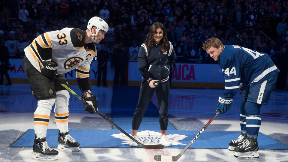 Canadian tennis star Bianca Andreescu drops the ceremonial puck prior to the start of NHL hockey action between the Toronto Maple Leafs and the Boston Bruins, in Toronto, Saturday, Oct. 19, 2019. THE CANADIAN PRESS/Fred Thornhill