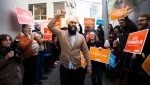NDP leader Jagmeet Singh greets supporters during a campaign stop in Nanaimo, B.C., on Friday, October 18, 2019. THE CANADIAN PRESS/Nathan Denette