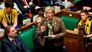 Lawmaker of SNP (Scottish National Party) Joanna Cherry speaks during the Brexit debate inside the House of Commons parliament in London Saturday Oct. 19, 2019. At the rare weekend sitting of Parliament, Prime Minister Boris Johnson implored legislators to ratify the Brexit deal he struck this week with the other 27 EU leaders. Lawmakers voted Saturday in favour of the 'Letwin Amendment', which seeks to avoid a no-deal Brexit on October 31. (Stephen Pike/House of Commons via AP)