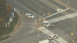 Police are on the scene of a pedestrian-involved collision in Brampton.