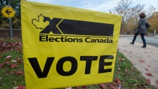 A voter heads to cast their vote in Canada's federal election at the Fairbanks Interpretation Centre in Dartmouth, N.S., Monday, Oct. 21, 2019. THE CANADIAN PRESS/Andrew Vaughan