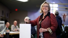 Green Party Leader Elizabeth May casts her vote at St. Elizabeth's Parish while in Sidney, B.C., on Monday, Oct. 21, 2019. THE CANADIAN PRESS/Chad Hipolito