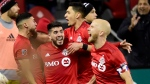 Toronto FC midfielder Jonathan Osorio (21) celebrates his goal during extra time MLS playoff soccer action against the D.C. United, in Toronto on Saturday, Oct. 19, 2019. THE CANADIAN PRESS/Frank Gunn