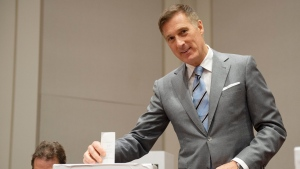 People's Party of Canada Leader Maxime Bernier casts his ballot in Saint-Georges Que., Monday, Oct. 21, 2019. THE CANADIAN PRESS/Jacques Boissinot