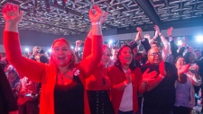 Liberal supporters react to a prediction of a Liberal government at the Liberal election night headquarters, Monday, October 21, 2019 in Montreal.THE CANADIAN PRESS/Ryan Remiorz