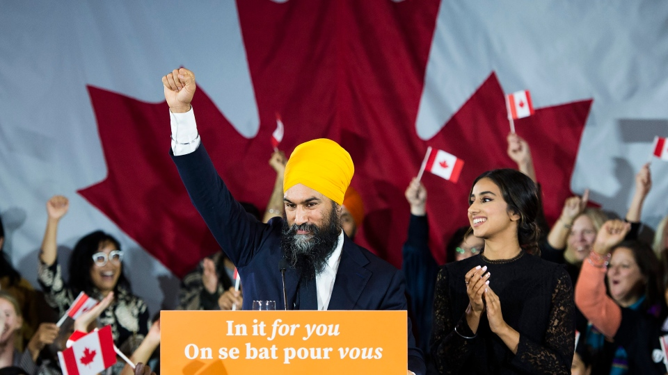 NDP leader Jagmeet Singh reacts on stage to supporters at his election night headquarters in Burnaby, B.C., on Tuesday, October 22, 2019. THE CANADIAN PRESS/Nathan Denette