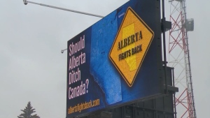 "Signs seen in Alberta promoting a ""western exit"" from the rest of Canada."