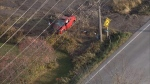 The scene of a fatal collision in Georgina is seen in this aerial image.