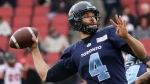 Toronto Argonauts quarterback McLeod Bethel-Thompson throws a pass during first quarter CFL football action against the Ottawa Redblacks, in Toronto on Saturday, Oct. 26, 2019. THE CANADIAN PRESS/Hans Deryk