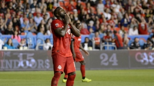 Toronto FC forward Jozy Altidore (17) reacts after missing the net during second half MLS Soccer action against the Montreal Impact, in Toronto, on Saturday, Aug. 24, 2019. Toronto FC trains in Atlanta with a question-mark continuing to hang over injured striker Jozy Altidore as the fourth seed in the East prepares for Wednesday's Eastern Conference final showdown against the defending MLS champions. THE CANADIAN PRESS/Andrew Lahodynskyj