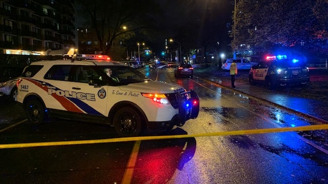 Toronto police are investigating a shooting near Pape and Cosburn that sent two teens to hospitals. (Kyle Surowicz)