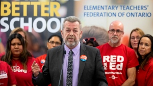 Sam Hammond, President of the Elementary Teachers' Federation of Ontario, speaks to the media in the union's Toronto offices on Friday, November 1, 2019. THE CANADIAN PRESS/Chris Young