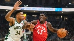 Toronto Raptors' Pascal Siakam tries to drive past Milwaukee Bucks' Giannis Antetokounmpo during the first half of an NBA basketball game Saturday, Nov. 2, 2019, in Milwaukee. (AP Photo/Morry Gash)