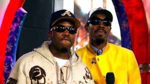 "This Aug. 22, 2006 file photo shows Antwan ""Big Boi"" Patton, left, and Andre Benjamin of OutKast during MTV's ""Total Request Live"" at the MTV Times Square Studios in New York.  The Neptunes, the innovative production-songwriting duo of Pharrell Williams and Chad Hugo, are nominated for the prestigious Songwriters Hall of Fame 2020 class. Joining them as nominees are Outkast, R.E.M., Mariah Carey, Patti Smith, Journey, Vince Gill, Gloria Estefan, the Isley Brothers, the Eurythmics, Mike Love, David Gates and Steve Miller. (AP Photo/Jason DeCrow, File)"