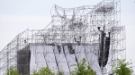 A collapsed stage is shown at Downsview Park in Toronto on Saturday, June 16, 2012. THE CANADIAN PRESS/Nathan Denette