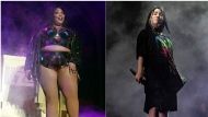 This combination photo shows Lizzo performing at The Hollywood Palladium in Los Angeles on Oct. 18, 2019, left, and Billie Eilish performing at the Coachella Music & Arts Festival in Indio, Calif., on April 20, 2019. Eilish and Lizzo will perform at the 2019 American Music Awards, airing live on ABC from the Microsoft Theater in Los Angeles on Nov. 24. (AP Photo)