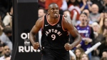 Toronto Raptors forward Serge Ibaka (9) reacts after his slam dunk on the Sacramento Kings during second half NBA action in Toronto on Wednesday, Nov. 6, 2019. THE CANADIAN PRESS/Nathan Denette