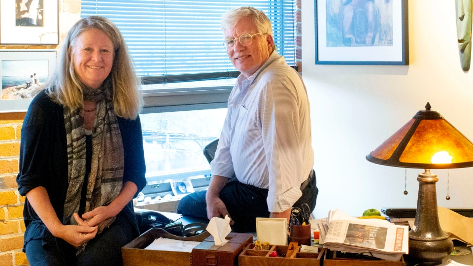 """Peter Raymont and Nancy Lang, directors/producers of the upcoming documentary """"Margaret Atwood: A Word After A Word After A Word Is Power,"""" are photographed in their production company's Toronto offices on Tuesday, October 29, 2019. In summer 2017, documentary makers Nancy Lang and Peter Raymont were asked to do a film on authors/life partners Margaret Atwood and Graeme Gibson before their milestone birthdays. THE CANADIAN PRESS/Chris Young"""