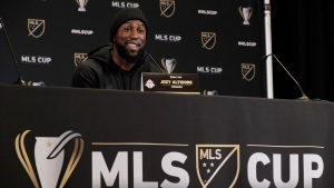 Toronto FC forward Jozy Altidore talks to reporters, Thursday, Nov. 7, 2019, during a news conference in Seattle. Toronto FC will face the Seattle Sounders, Sunday in the MLS Cup soccer match at CenturyLink Field in Seattle, the third time the two teams will have met for the MLS championship. (AP Photo/Ted S. Warren)