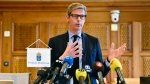 Judge Per Lennerbrant faces the media commenting on the court verdict on American rapper A$AP Rocky and two others, at Stockholm District Court, in Stockholm, Sweden, Wednesday Aug. 14, 2019. Swedish court on Wednesday found American rapper A$AP Rocky guilty of assault for his role in a June 30 street brawl in Stockholm. (Anders Wiklund / TT via AP)