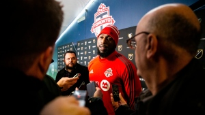 Toronto FC forward Jozy Altidore interviews with the media before an MLS soccer practice at CenturyLink Field at Seattle, Saturday, Nov. 9, 2019. (Andy Bao/The Seattle Times via AP)