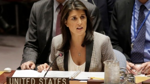 FILE - President Donald Trump's former U.N. ambassador, Nikki Haley , alleges in her upcoming memoir that two top administration officials, then-Secretary of State Rex Tillerson and then-White House chief of staff John Kelly, tried to enlist her in opposing some of Trump's policies. (AP Photo/Seth Wenig, File)
