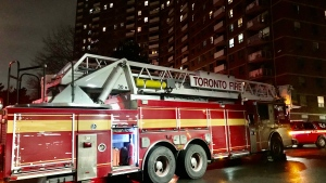 Crews were on the scene of a two-alarm fire at a residential building in Etobicoke. (Michael Nguyen/ CP24)