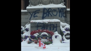 Police are investigating after the cenotaph at Old City Hall was vandalized. (Jamie Gutfreund/ CP24)