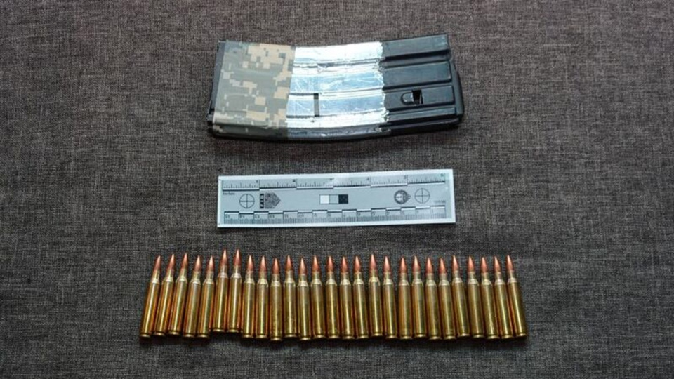 A 30-round magazine and 27 rounds of 5.56mm ammunition are shown in a TPS handout image.