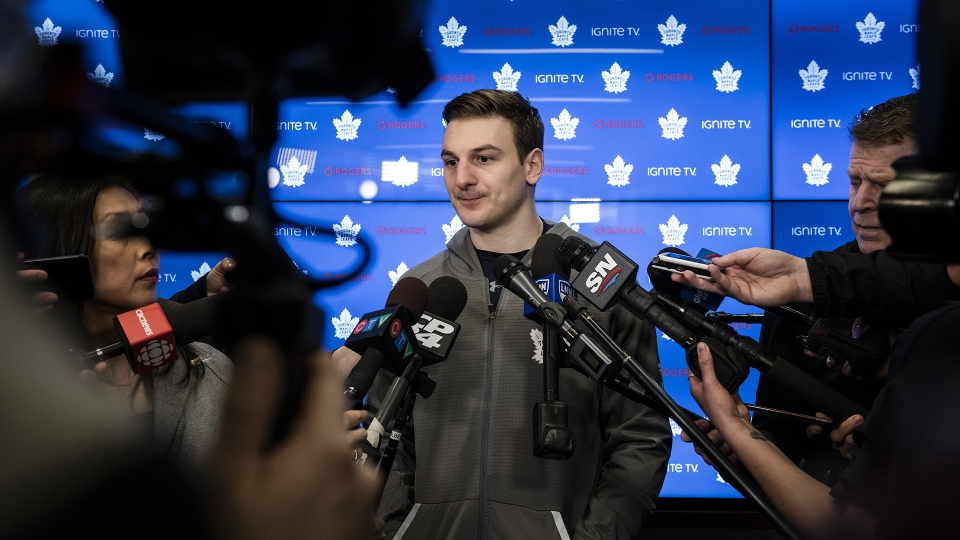 Toronto Maple Leafs left wing Zach Hyman speaks to reporters after a locker clean out at the Scotiabank Arena in Toronto, on Thursday, April 25, 2019. THE CANADIAN PRESS/Christopher Katsarov