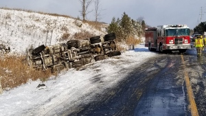 Police respond to a fatal collision on County Road 21 in Essa Township Tuesday November 12, 2019. (@OPP_CR /Twitter)
