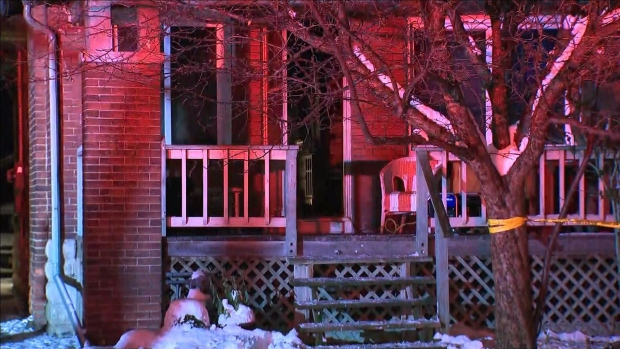 The scene of a house fire that sent a woman to hospital with critical injuries is pictured.