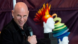 Cirque du Soleil founder Guy Laliberte speaks to the media at a news conference Monday, April 20, 2015 in Montreal. Cirque du Soleil has signed a deal to sell a majority stake in the famed circus group to U.S. private equity firm TPG for an undisclosed price. THE CANADIAN PRESS/Ryan Remiorz