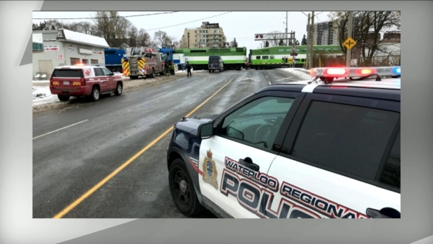 Police investigate after an adult and child were struck by a GO train near Kitchener Wednesday November 13, 2019.