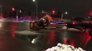 One driver is in custody after a collision involving a sidewalk plow in Mississauga. (Mike Nguyen/ CP24)