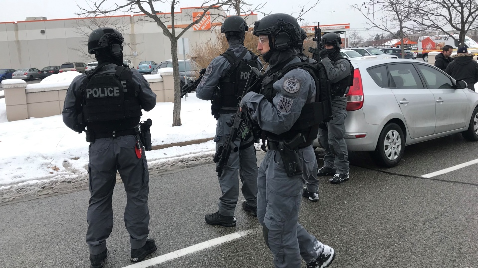 Police ETF officers are seen on Alness Street in North York after a shooting on Nov. 14, 2019