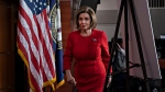 Speaker of the House Nancy Pelosi, D-Calif., leaves a news conference the morning after the first public hearing in the impeachment probe of President Donald Trump on his effort to tie U.S. aid for Ukraine to investigations of his political opponents, on Capitol Hill in Washington, Thursday, Nov. 14, 2019. (AP Photo/J. Scott Applewhite)