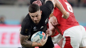 New Zealand's Sonny Bill Williams is tackled by Wales' Ross Moriarty during the Rugby World Cup bronze final game at Tokyo Stadium between New Zealand and Wales in Tokyo, Japan, Friday, Nov. 1, 2019. The Toronto Wolfpack proved doubters wrong by managing to establish a toehold for a little-known sport in North America. Now the transatlantic rugby league team is opening the vault in the hope that All Blacks star Sonny Bill Williams will put it on the worldwide map as the Wolfpack prepare for their step up into England's top-tier Super League come February. THE CANADIAN PRESS/AP, Mark Baker