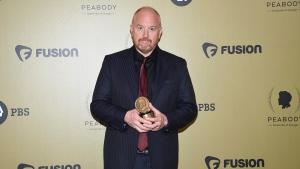"Executive producer Louis CK poses with the award for ""Horace and Pete"" at the 76th Annual Peabody Awards at Cipriani Wall Street in New York on May 20, 2017. THE CANADIAN PRESS/AP, Invision - Evan Agostini"