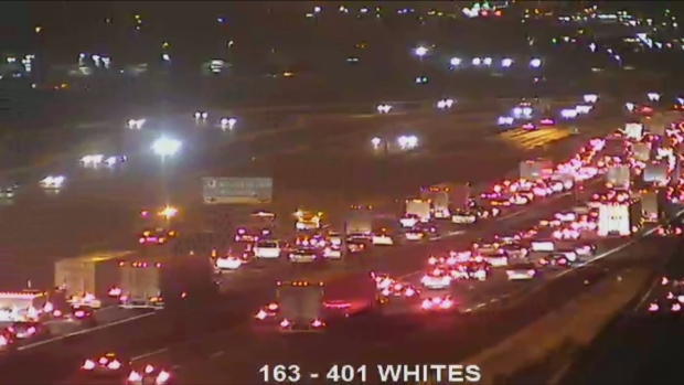 Police have closed the eastbound express lanes on Highway 401 near Whites Road following a two-vehicle collision. (MTO)