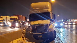 A transport truck collided with a van on Highway 401 eastbound express lanes near Whites Road in Pickering. (OPP)