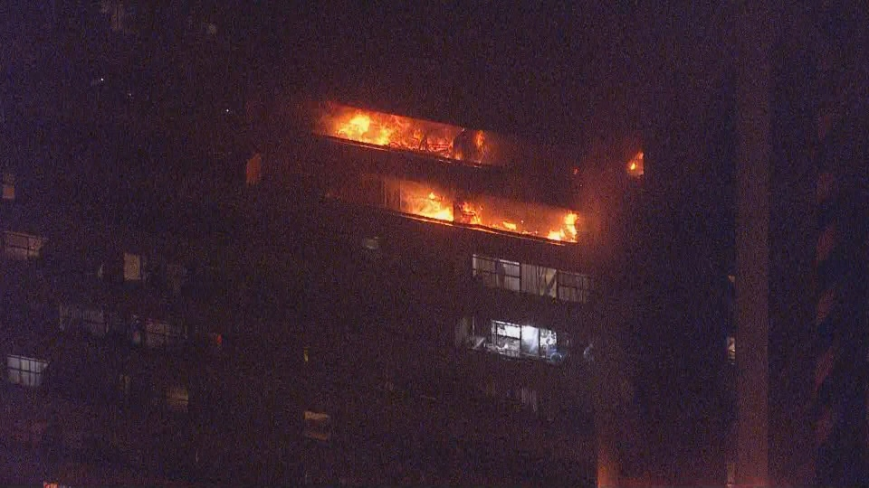 A stubborn fire rages at a high rise building Jane Street and Shoreham Drive in North York Friday November 15, 2019. (CP24)