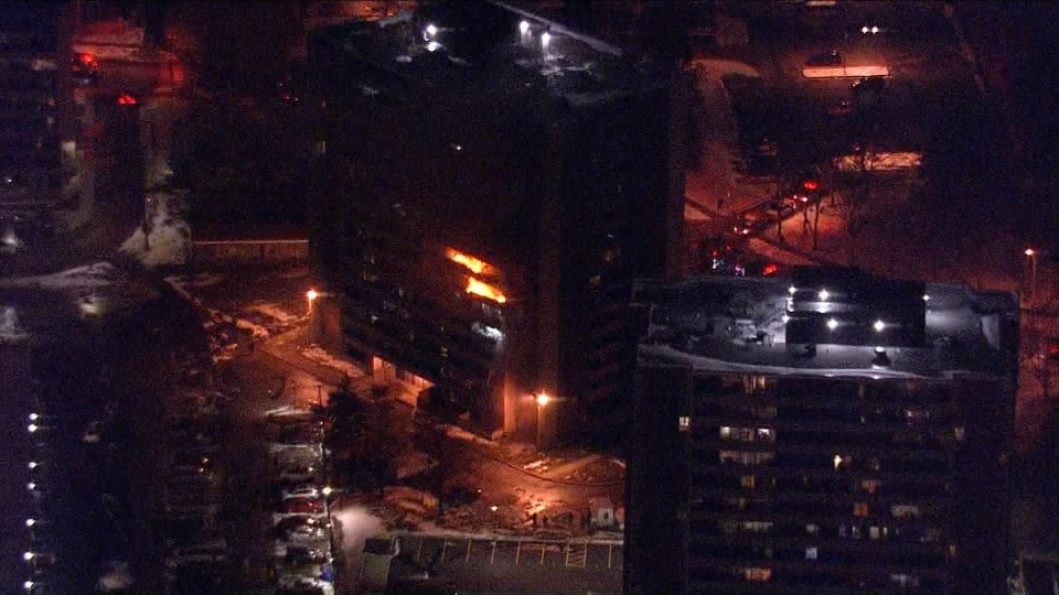 Flames are visible at a high rise building Jane Street and Shoreham Drive in North York Friday November 15, 2019. (CP24)