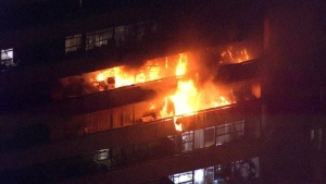 One person has been found dead on the 8th floor of the balcony of the apartment where a 5-alarm fire broke out in North York last night.