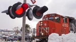 A CN locomotive moves in the railway yard in Dartmouth, N.S. on Monday, Feb. 23, 2015. Canadian National Railway Co. is confirming job cuts thanks to a weakening North American economy that has eroded railroad demand. THE CANADIAN PRESS/Andrew Vaughan